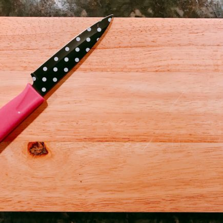 Learning to cook without cooking Knife on cutting board