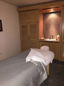 Massage table in spa room